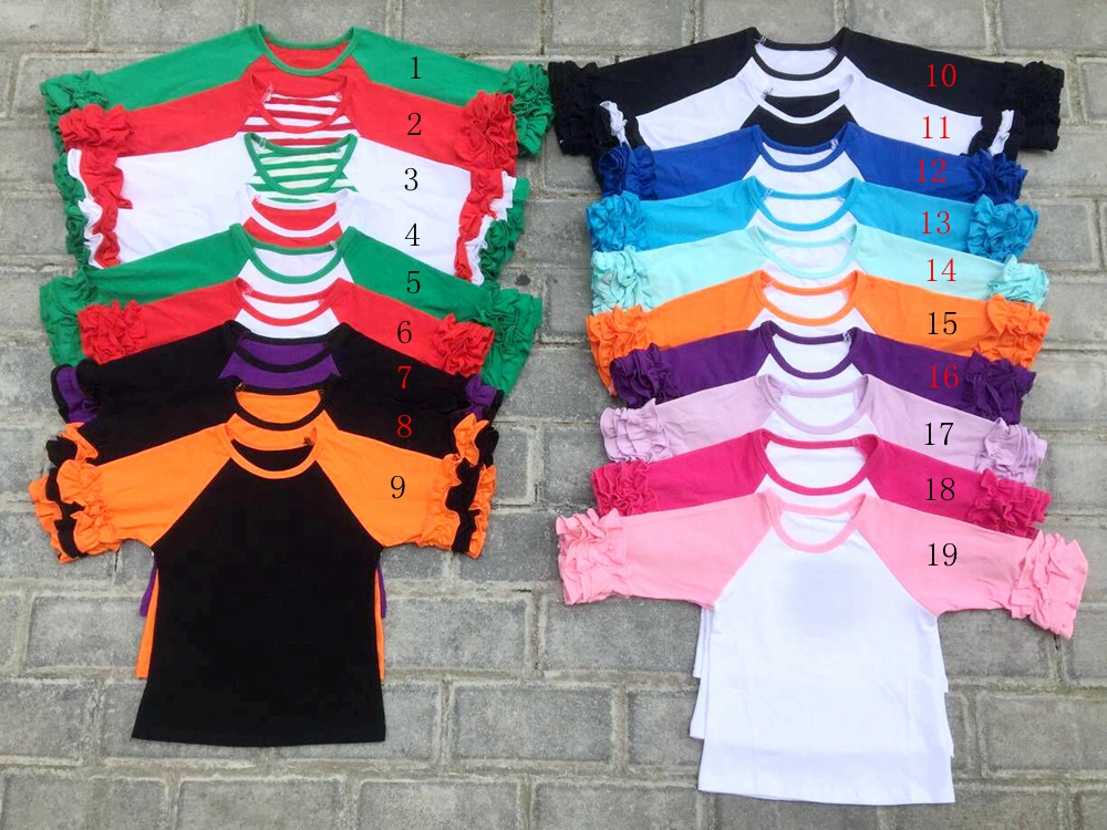 Wholesale girl clothes baby girls kids icing ruffle 3/4 sleeve raglan shirts girls casual fall Autumn tees Three Quarter T-shirt цена 2017