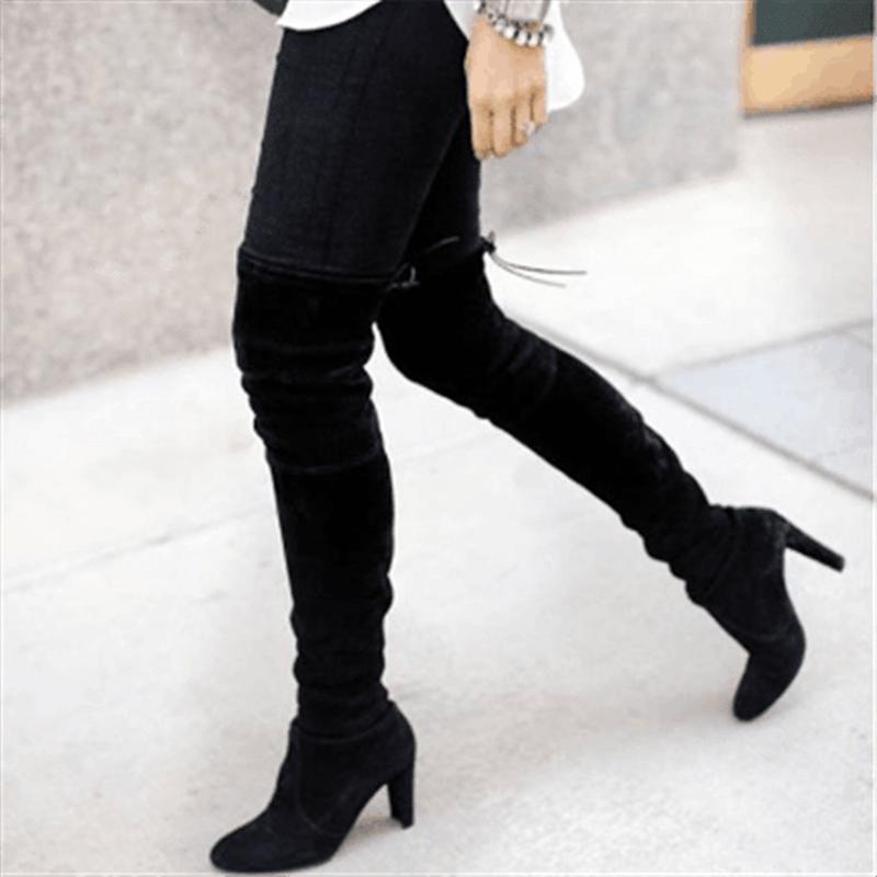 PUIMENTIUA Kadın Uyluk Yüksek Çizmeler Moda Süet Deri Yüksek Topuklu Lace up Kadın Diz Çizmeler Üzerinde Artı Boyutu Ayakkabı