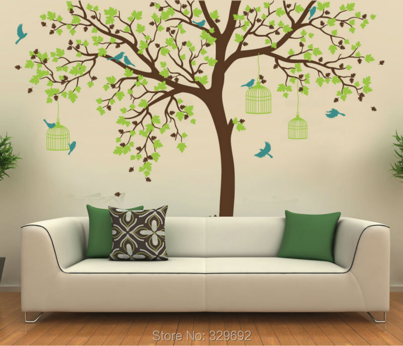 bird cage tree nursery wall stickers removable tree wall decals wall mural nursery vinyls. Black Bedroom Furniture Sets. Home Design Ideas