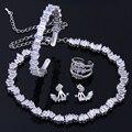 Новая Мода Высокое Качество CZ Алмазов Четыре Ювелирные Наборы Для Невесты Изысканные Серьги Кольцо Braclet Колье Колье WS127