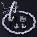 Nueva Moda de Alta Calidad de Diamantes CZ Cuatro Pendientes de La Joyería Para La Novia Exquisito Anillo Braclet Conjunto Collar de Gargantilla WS127