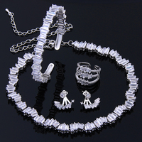 New Fashion Top Quality CZ Diamond Four Jewelry Sets For Bride Exquisite Earrings Ring Braclet Choker
