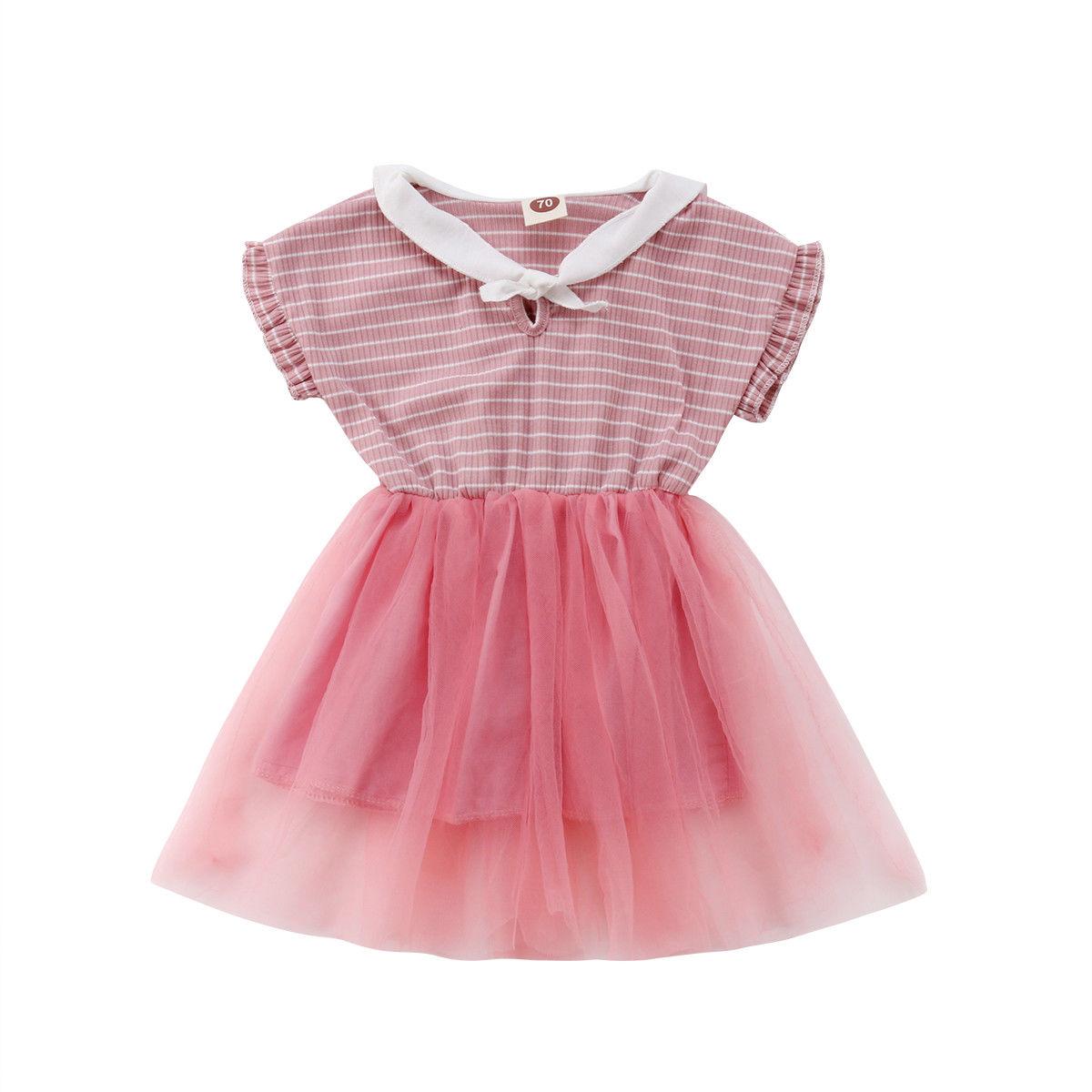 US Newborn Baby Girl Lace Tutu Short Sleeve Dress Party Wedding Princess Dresses