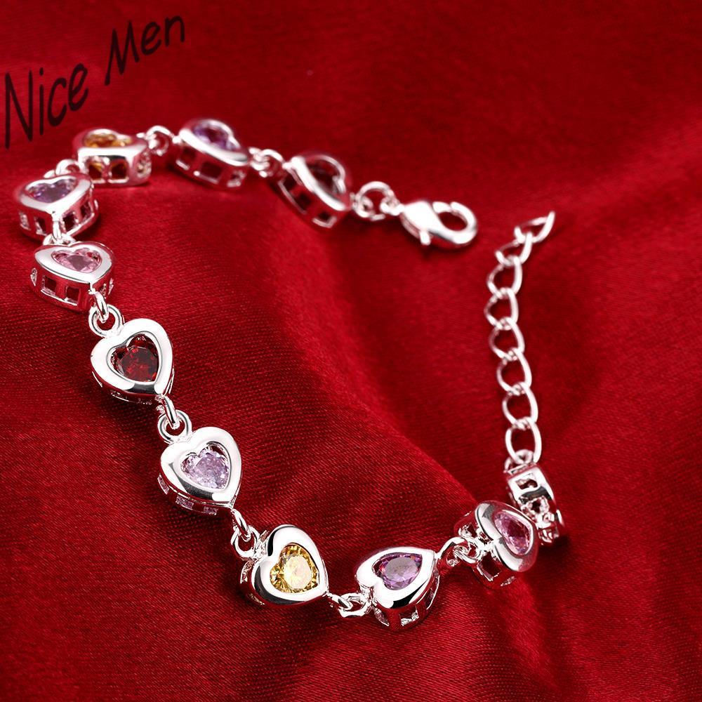 Eight heart charms bangles 2016 new H368 girls hearts design friend ship bracelet