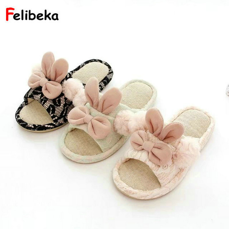 Drop shipping Spring/summer fashion rabbit slippers at home women indoor floor slippers ladies shoes siketu 2017 women home slippers spliced warm pregnant women shoes best gift drop shipping dec27