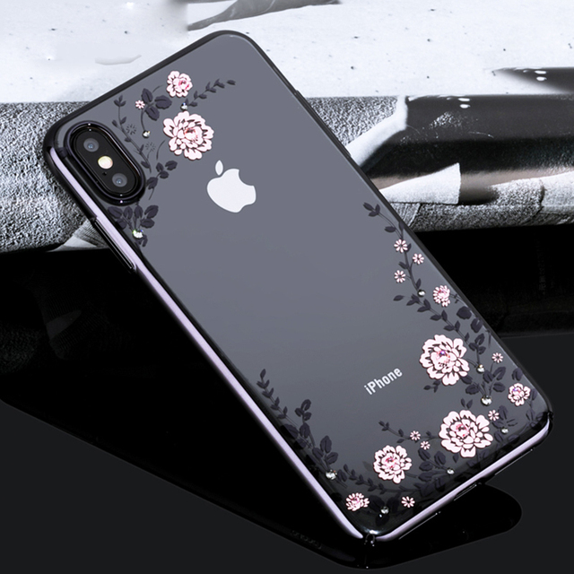 new concept ddbf2 72d9e US $19.99 |KINGXBAR original For iPhone XR Xs Max case clear Floret  Swarovski Electroplating PC Hard Case For iPhone Xs Max Case gliiter-in  Fitted ...