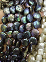 One Strands Real Pearl 10 12mm Deep BLACK RED GREEN MIXED Round Slice Pearl Natural Freshwater