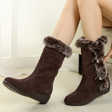 2019Top quality New Hot Women Boots Autumn Flock Winter Ladies Fashion Snow Boots Shoes Thigh High Suede Mid-Calf Boots EUR35-42