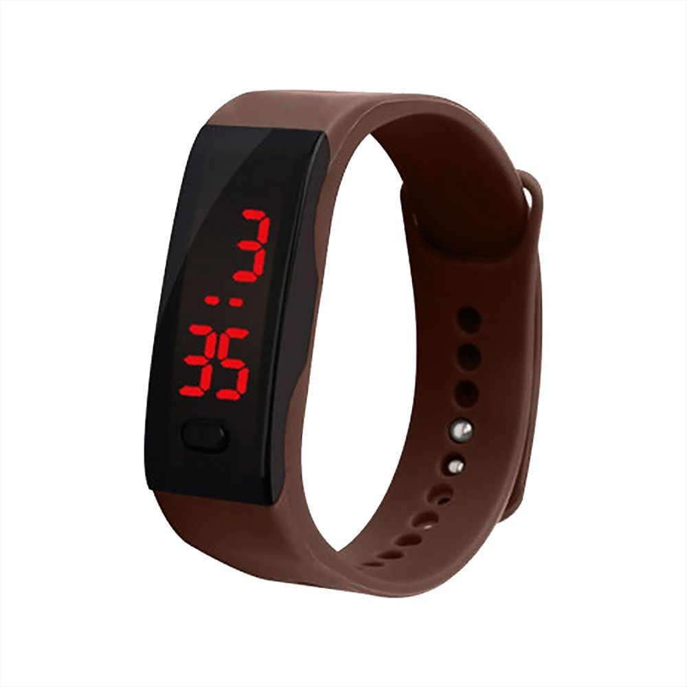 النساء الرقمية سوار ساعة LED شاشة ديجيتال الأطفال الطلاب هلام السيليكا الرياضة ساعات المعصم السيدات عادية Clcok هدية