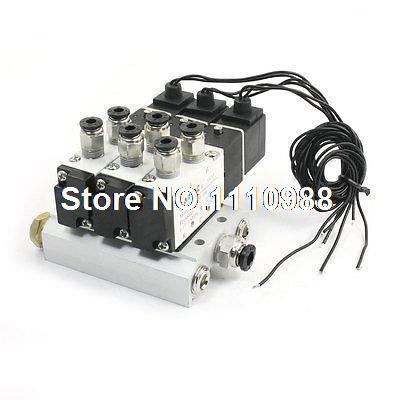 4V110-06 AC110V 5Way Triple électrovanne silencieux Base raccords rapides ensemble