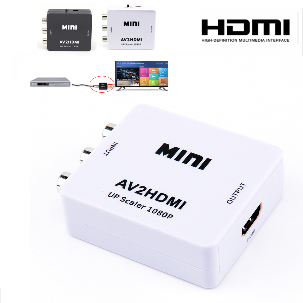 AV to HDMI Box Mini Full HD Male to Female AV to HDMI Video Converter for HDTV TV PS3 PS4 PC DVD Xbox Projector