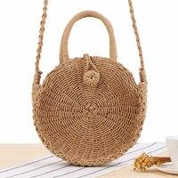 Круглая соломенная сумка ручной работы из ротанга плетеная винтажная соломенная веревка вязаная женская сумка через плечо свежая Летняя П...