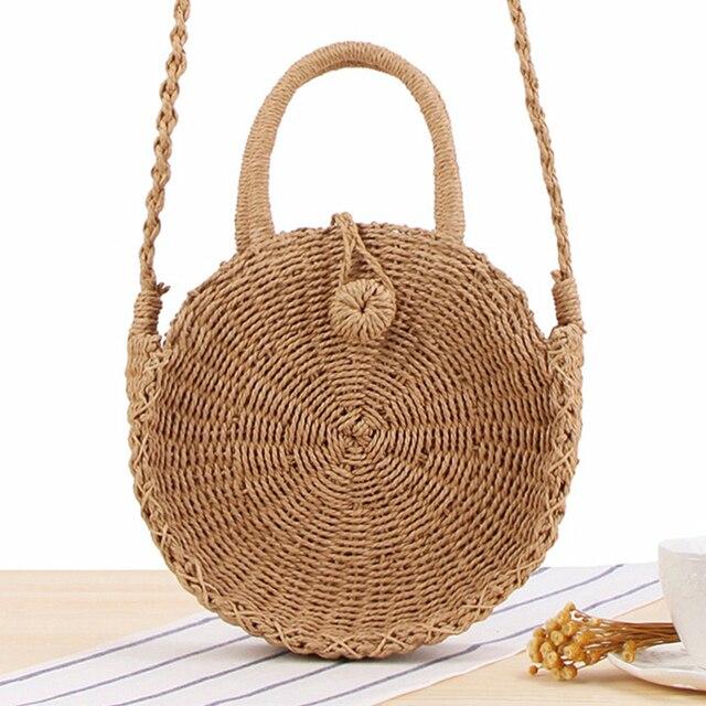Круглая соломенная сумка ручной работы плетёная ротанговая винтажная Ретро соломенная веревка вязаная женская сумка через плечо свежая Ле...