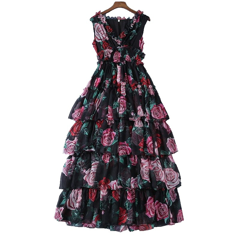 2019 sommer Romantische Prairie Chic Süße Formale Kleid Rose Print A Line V ausschnitt Sleeveless Tank Frauen Midi Prinzessin Kuchen Kleid S L-in Kleider aus Damenbekleidung bei  Gruppe 1