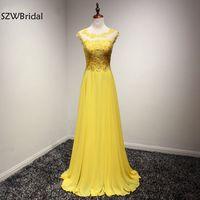 New Arrival Tulle Yellow Long Evening Dresses 2017 Vestidos Festa Abiye Elbise Formal Dress Ever Pretty