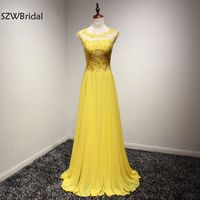 New Arrival Tulle Yellow Long Evening Dresses 2017 Vestidos Festa Abiye Elbise Formal Dress Ever Pretty