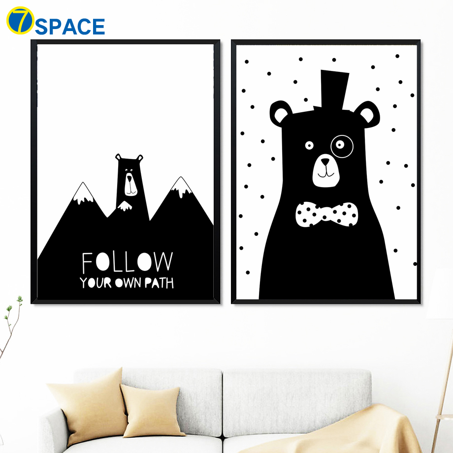 Bear Heart Mountain Balloon Quote Wall Art Canvas Painting Posters And Prints Black White Wall Pictures Baby Girl Boy Room Decor in Painting Calligraphy from Home Garden
