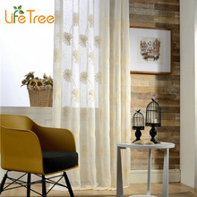 Elegant Chrysanthemum Embroidered Voile Curtains For Living Room Bedroom Window Tulle Custom Made Sheer