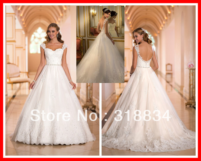 2014 Elegant Ella Bridal Wedding Dresses With Lace Sheer Cap Sleeve ...