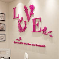 LOVE Creative 3D Acrylic Wedding Wall Decorative Painting Headboard Sofa Background Restaurant Glass Door Party Wall