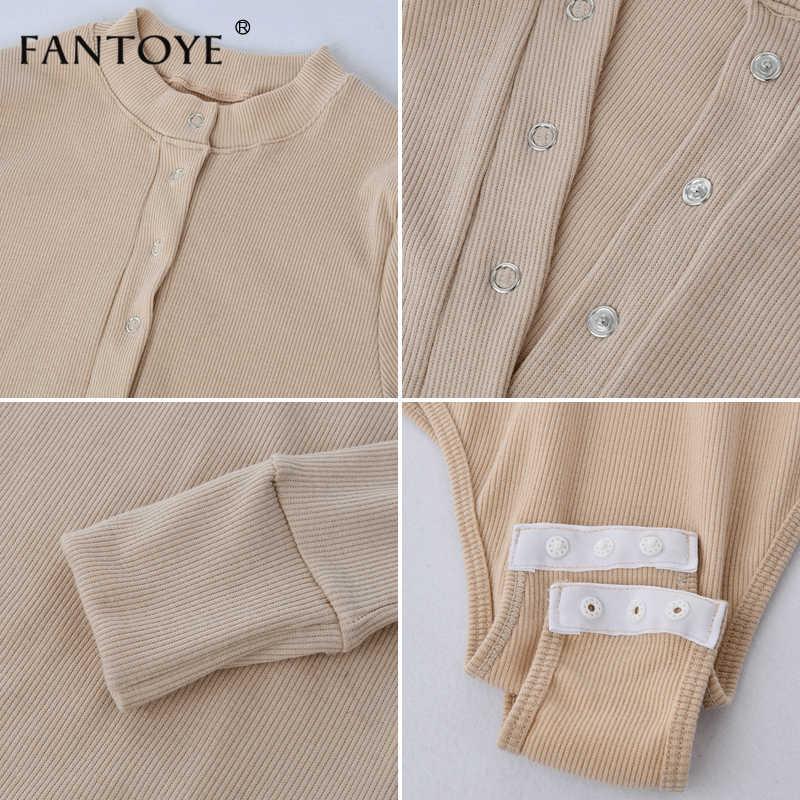 Fantoye Sexy Dài Bodysuits Tay Nữ Mùa Xuân 2020 Mùa Đông Đen Slim Ôm Body Áo Liền Quần Rompers Nữ Co Giãn Body Cao Cấp