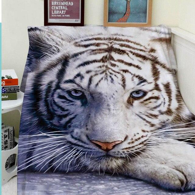 Us 3499 Decken Komfort Wärme Weichen Gemütliche Klimaanlage Pflegeleicht Maschine Waschen Lustige Weiße Tiger Tier In Decken Komfort Wärme