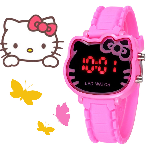 Lovely Hello Kitty Children Digital Watches Boys Girls Silicone LED Watch Studen