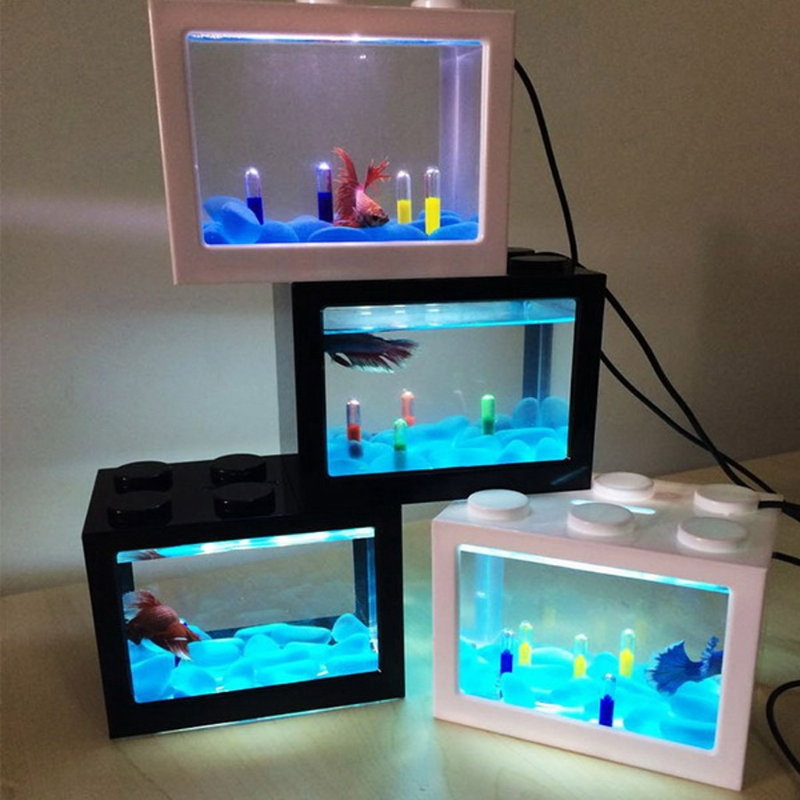 USB Mini Fighting LED Fish Box Aquarium Transparent Acrylic Fish Tank Office Desktop Decoration Creative Build Blocks Stacked