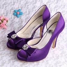 Wedopus Высокие Каблуки Женщины Насосы Фиолетовый Свадебные Туфли Peep Toe с Бантом