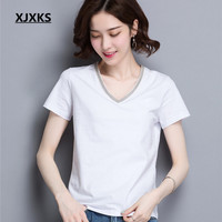 XJXKS 2019 summer new women's T shirt fashion V neck 100% cotton high quality comfortable leisure T shirt women's top