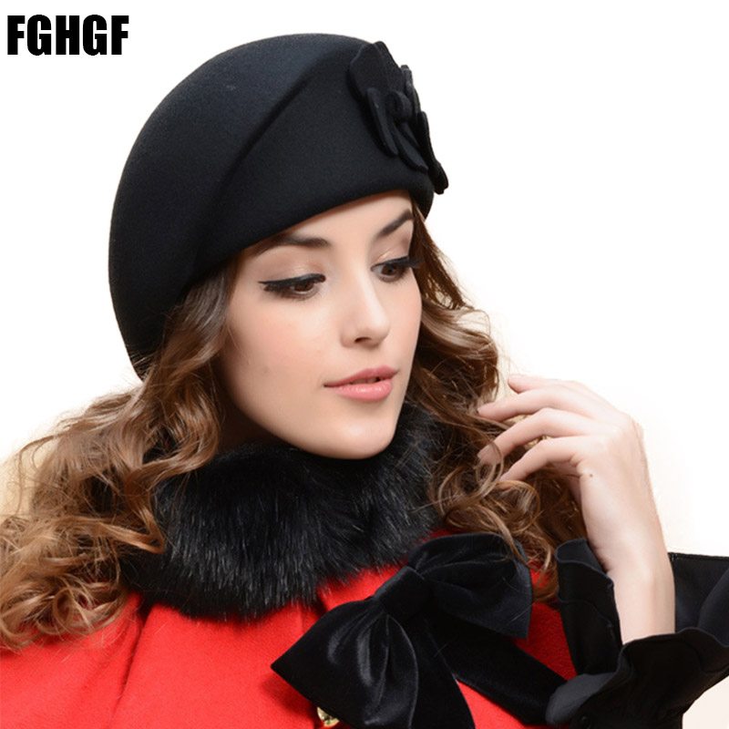 d83dc20b6be Detail Feedback Questions about FGHGF Elegant Classical Winter French Beret  Women Hats Solid Double Flower Adorn Wool Felt Women Hat Ladies Fedoras  Church ...