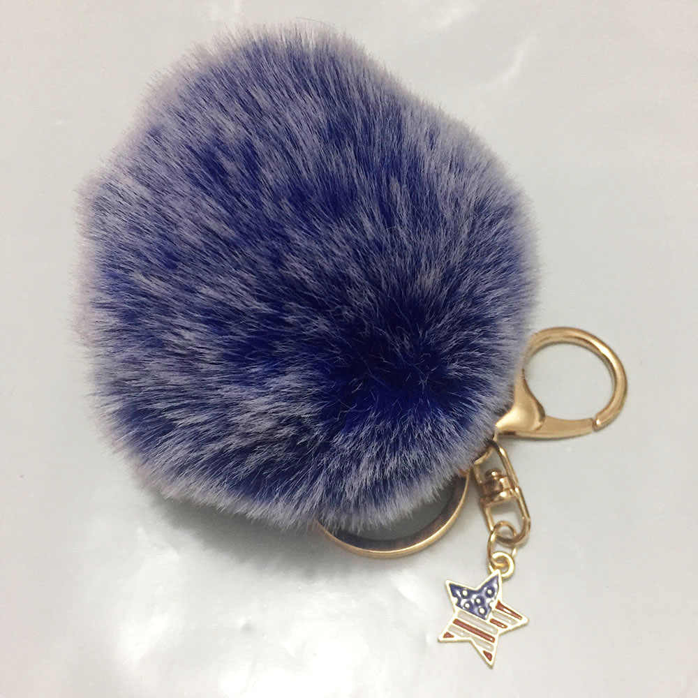 8 cm Pompom Papel Bola Fofo Coelho Cabelo Artificial Chaveiro Keychain das Mulheres Botão de Ouro Americano Charme Chaveiro Llaveros