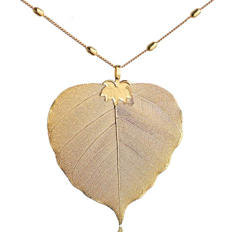 Bodhi Leaf Pendant Necklace Gold-color Natural Leaves Bohemian Jewelry Fashion Cloth Accessories 2017 Spring Arrival