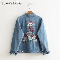 2017 Women Fashion Vintage Floral Back Embroidered Denim Jacket Loose Long Sleeve Drop Shoulder Coat