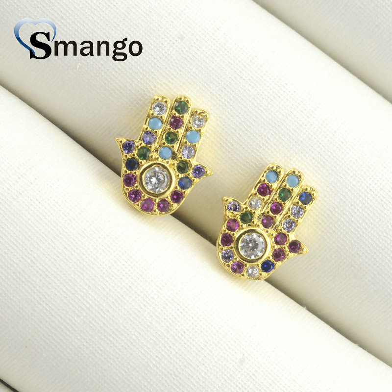 Women Stud Earrings Fashion Jewelry The Hand Shape The Rainbow Series Gold Color Top Quality Plating Can Wholesale 5pairs in Stud Earrings from Jewelry Accessories