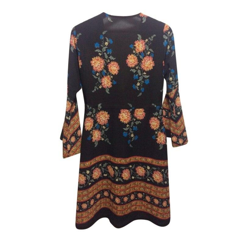 2018 в богемном стиле пляжное платье в стиле ретро с принтом Flare рукавом мини-платье Для женщин Саида де Boho Chic Костюмы Ropa De Mujer Винтаж