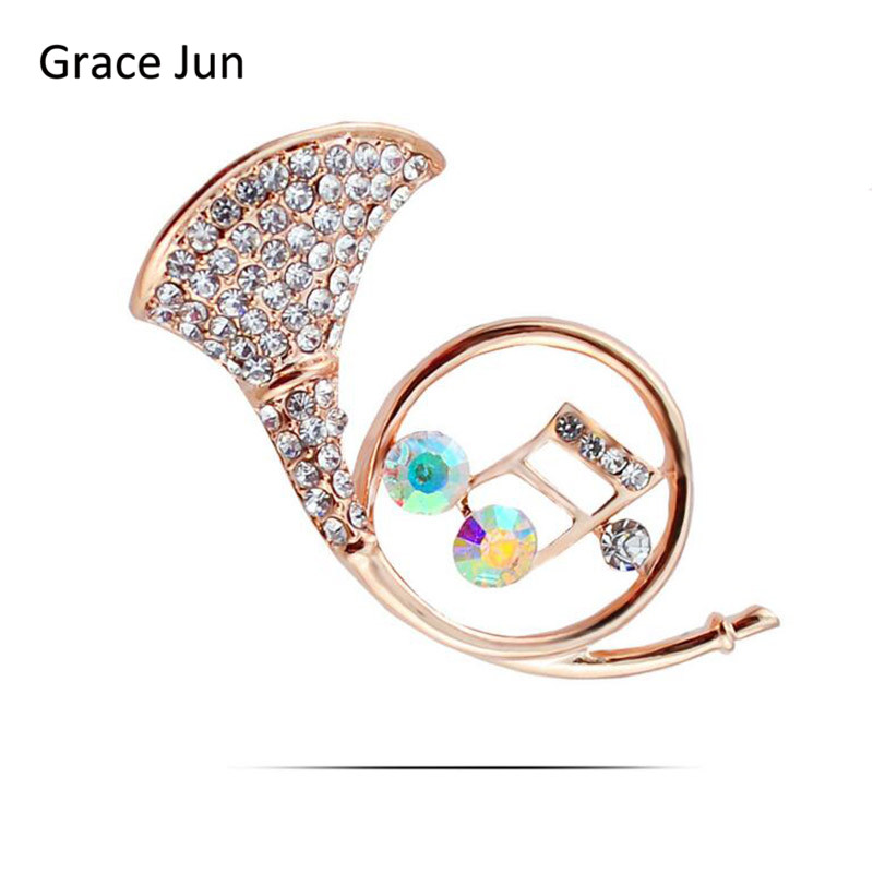 New Arrival Luxury Rhinestone Crystal Horn Music Brooches for Women Elegant Corsgage Hijab Pin Hat Scarf Suit Brooches Good Gift