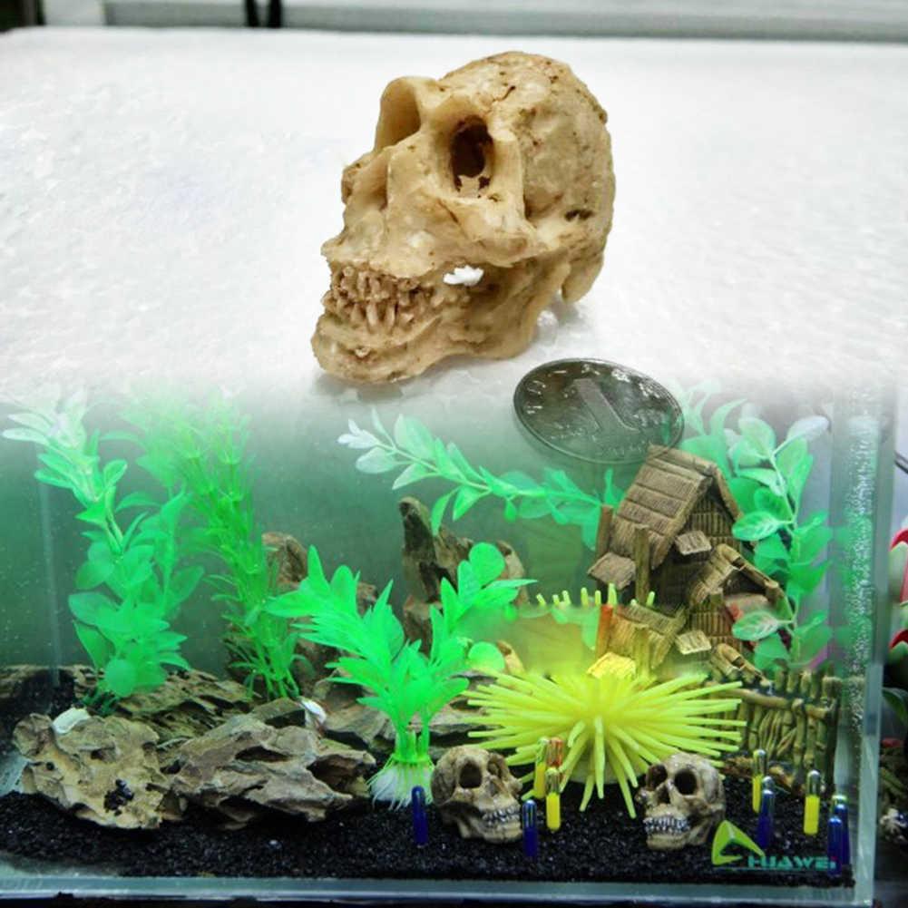 Halloween Dekorasi Buatan Tengkorak Kepala Model Resin Tengkorak Tangki Ikan Akuarium Bersembunyi Dekorasi Terarium Reptil Ornamen Alat