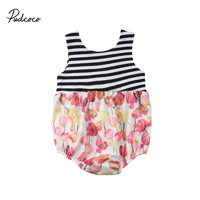 New Fashion KidsToddler Girls Casual Floral Romper Playsuit Striped Jumpsuit Clothes Outfits