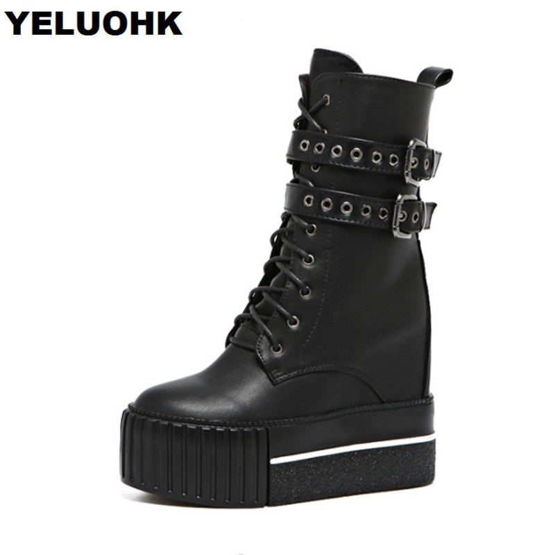 fa48d085 De Botas Tacones Cómodos Altos Plataforma La Pantorrilla Altas Mujer Negro  Con Black Moda Para Zapatos Hebilla A Media Invierno RR5a6qx