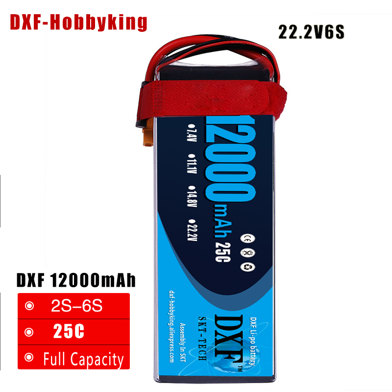2017 DXF Good Quality Lipo Battery 22.2V 6S 12000MAH 25C-50C RC AKKU Bateria for Airplane Helicopter Boat FPV Drone UAV 2017 dxf good quality lipo battery 11 1v 3s 4200mah 45c max90c rc akku bateria for airplane helicopter boat fpv drone uav