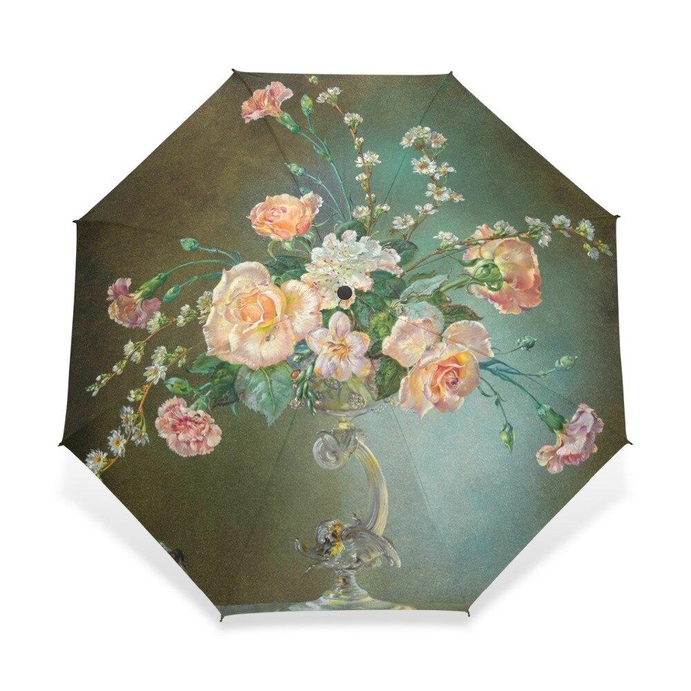 Դասական 19-րդ դարի ջրաներկ ներկարարական հովանոց 3 ծալովի ծաղիկների ներկով ձևավորում Կանանց հովանոց ՝ սիրահարված նվերների համար ավտոմատ:
