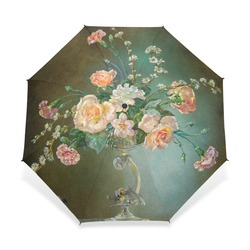 Classical 19th Century Watercolor Painting Umbrella 3 Folding Flower Painting Pattern Women Umbrella Automatic for Lover Gift