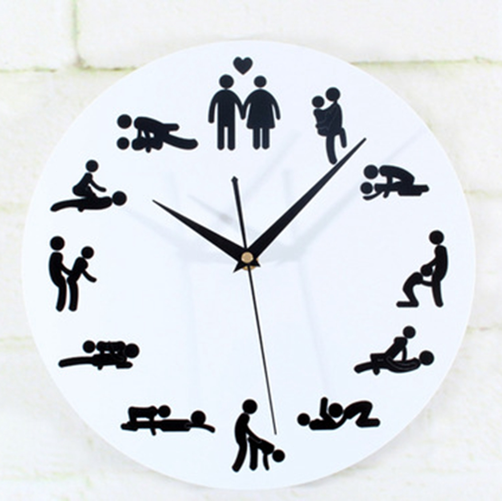 Modern Design <font><b>Sex</b></font> Position Mute Wall Clock For Bedroom Wall Decoration Silent Make Love Clock <font><b>Watch</b></font> Wedding Gift duvar saati image