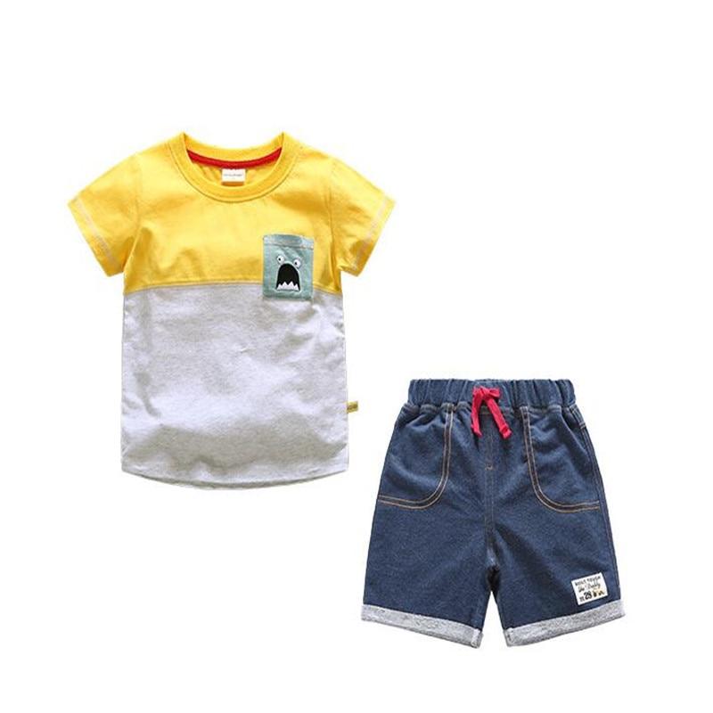 AJLONGER children boy set clothes summer toddler boys clothing suits sport 2pcs casual