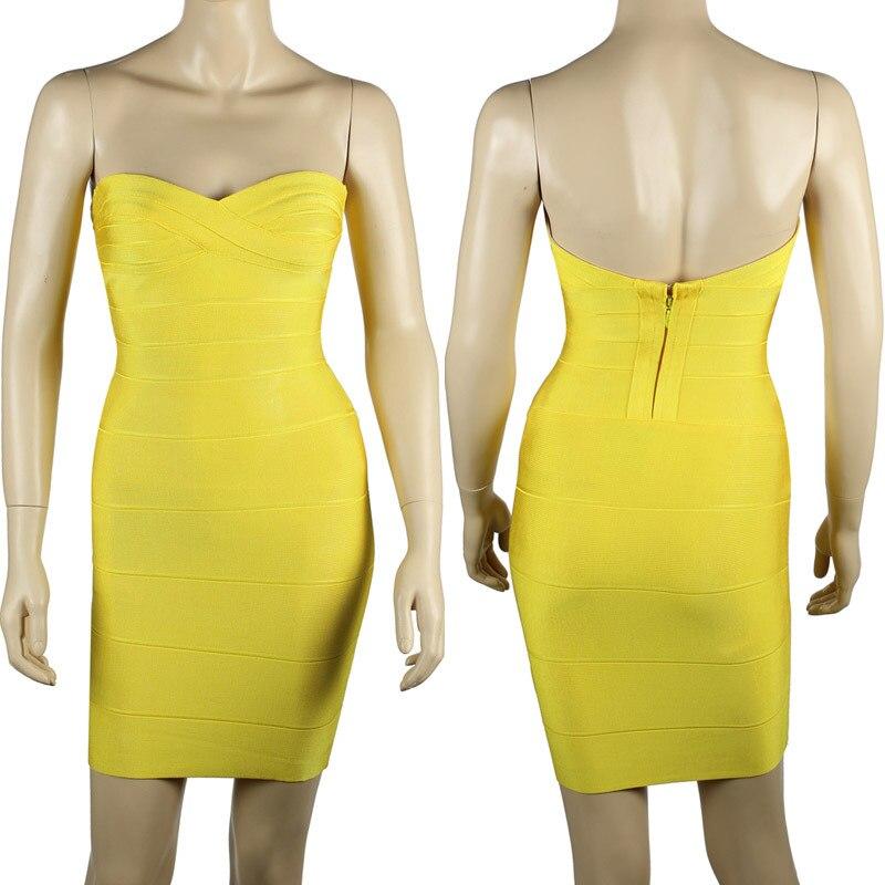 Ким Кардашьян, без бретелек, с открытыми плечами,, сексуальное женское платье, вискоза, бодикон, опт, дешевые мини обнаженные платья - Цвет: Yellow