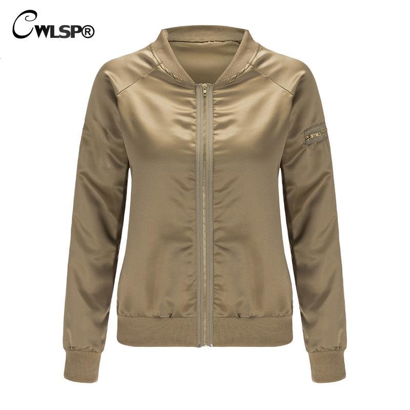 CWLSP Musim Gugur Satin Bomber Jaket untuk Wanita Coats Zipper Lengan - Pakaian Wanita - Foto 5