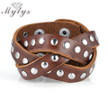 Mytys Stainless Steel Button Leather Bracelet Bangles Men 3 Layers Rope Unisex Jewelry For Women and Man B1027