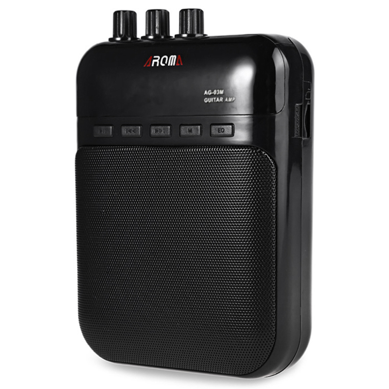 Aroma AG-03M 5W Guitar Amp Recorder Speaker TF Card Slot Compact Portable Multifunction Guitar Amplifier+USB Data Line aroma ag 03m 5w mini portable guitar amp recorder speaker tf card multifunction with distortion
