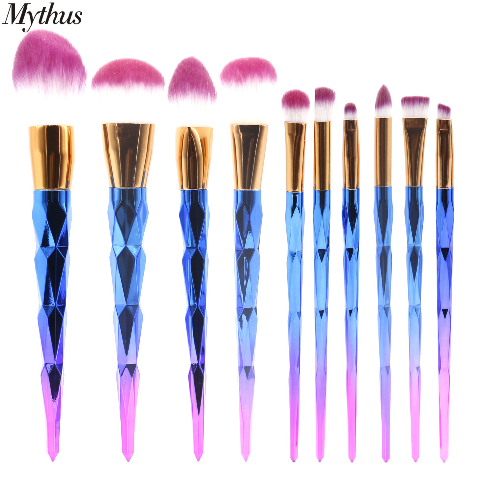 Mythus 10PC Blue Makeup Brushes Set Professionell Soft Foundation Eye - Smink